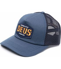 deus ex machina mesh-panelled embroidered cap - blue