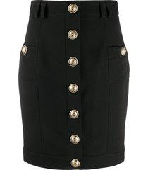 balmain short single-breasted skirt - black