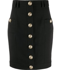 balmain short single-breasted skirt - black