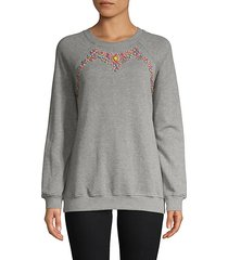 embellished raglan cotton sweatshirt