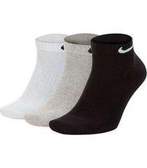 medias nike everyday cushion ankle - blanco/gris/negro