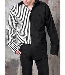 incerun hombres retro negro blanco rayas patchwork manga larga camisa