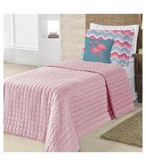 cobre leito belize para cama de solteiro 4 peças - rosê