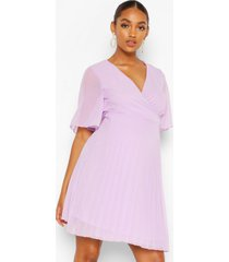 maternity pleated wrap midi skater dress, lilac