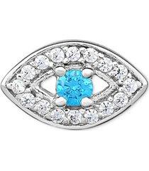 diamond evil eye single stud earring (1/10 ct. t.w.) in 14k white gold