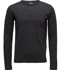 100% light wool klap stickad tröja m. rund krage grå mads nørgaard