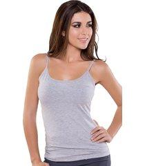 blusa color gray mix bocared para dama en tiras en jersey licra venus