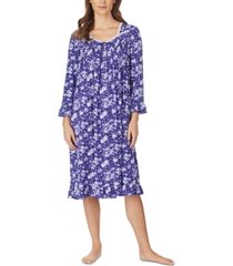 eileen west jersey-knit floral-print lace-trim waltz nightgown