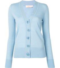 tory burch simone v-neck merino cardigan - blue