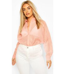 plus sheer flannel shirt, dusky pink