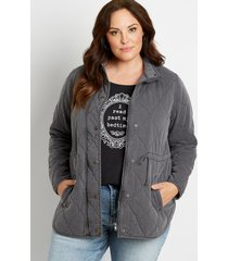 maurices plus size womens quilted cinched waist jacket gray