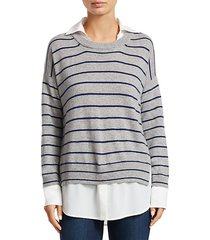 wide stripe crewneck sweater