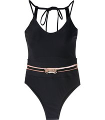 amir slama belted open back one piece - black