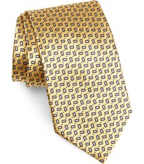 men's ermenegildo zegna geo silk tie, size large - yellow