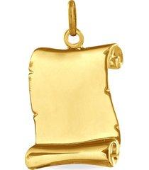 ciondolo in oro giallo pergamena per unisex