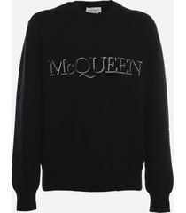 alexander mcqueen sweater with contrasting logo embroidery