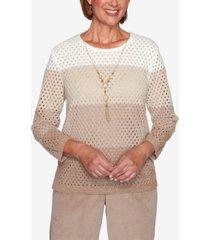 women's plus size dover cliffs chenille open stitch ombre sweater