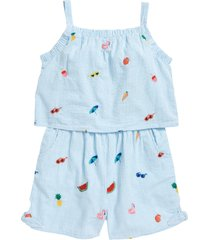 girl's mini boden kids' embroidered tie front top, size 4-5y - blue