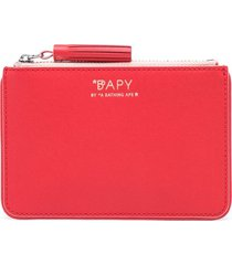bapy by *a bathing ape® tassel-zip leather pouch - red