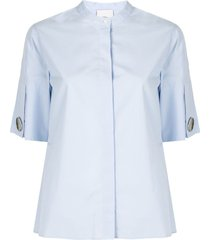 3.1 phillip lim collarless short-sleeved poplin shirt - blue