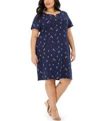 karen scott plus size sailboat-print lace-up dress, created for macy's