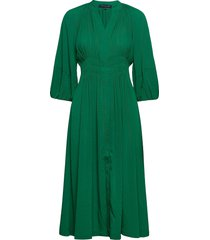 cora pleated dress knälång klänning grön french connection