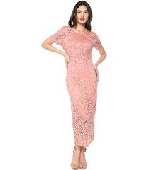 vestido encaje manga corta largo elegante rosado realist