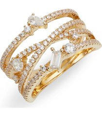 nordstrom fancy wrap ring, size 9 in clear- gold at nordstrom