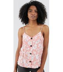 blusa tiras floral color naranja, talla 10