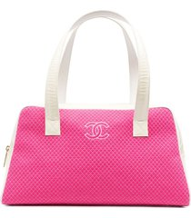 chanel pre-owned micro diamond quilt tote panelled tote bag - pink