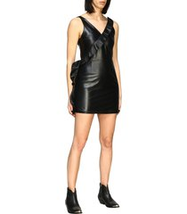 frankie morello dress frankie morello leather dress with ruffles and studs