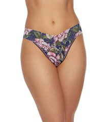 women's hanky panky print regular rise thong, size one size - blue