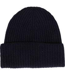 agnona blue cashmere beanie hat