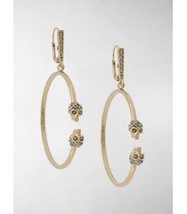 alexander mcqueen gold-tone crystal-embellished hoop earrings