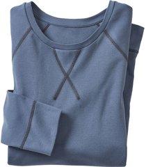 shirt met lange mouwen uit bio-katoen, rookblauw xxl