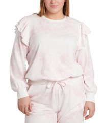 1.state plus size tie-dyed ruffled-shoulder top