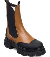 calf leather shoes chelsea boots brun ganni