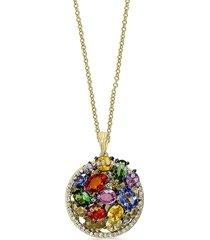 effy women's 14k yellow gold, diamonds & multi-colored sapphire pendant necklace