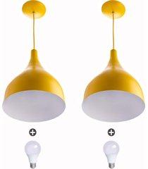 2 lustres pendente gota media alumínio 30cm amarelo + lampad