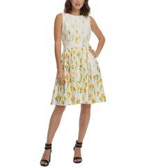 dkny cascading daisy-print fit & flare dress