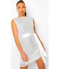 tall mini jurk met pailletten, schouderpads en ceintuur, silver