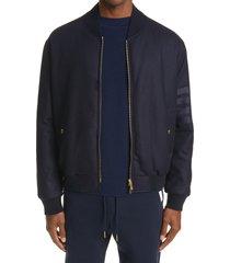 men's thom browne 4-bar tech wool & cashmere down bomber jacket, size 2 - blue