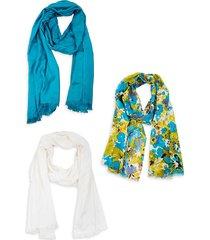 saachi women's 3-piece solid & floral scarf set - turquoise