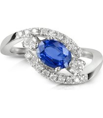 forzieri designer rings, sapphire and diamond 18k white gold ring