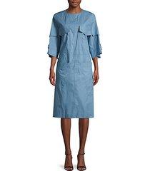 self-tie bell-sleeve cotton dress