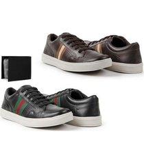 kit 02 sapatênis masculino couro macio conforto + carteira - masculino