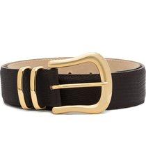black & brown marina lizard-effect leather belt