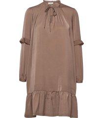 recycle polyester dress ls korte jurk bruin rosemunde