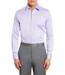 men's big & tall boss slim fit dot dress shirt, size 18 - purple