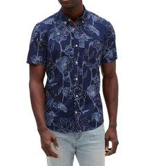 camisa poplin floreada manga corta azul gap